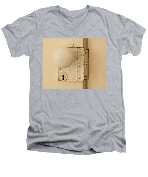 Old Lock Men's V-Neck T-Shirt by Photographic Arts And Design Studio