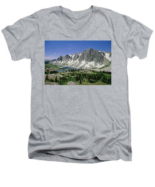 M-09702-old Main Peak, Wy Men's V-Neck T-Shirt