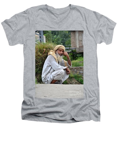 Old Man Carrying Fodder Swat Valley Kpk Pakistan Men's V-Neck T-Shirt