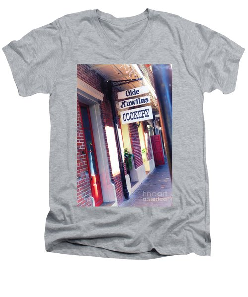 Men's V-Neck T-Shirt featuring the photograph Old Nawlins by Erika Weber