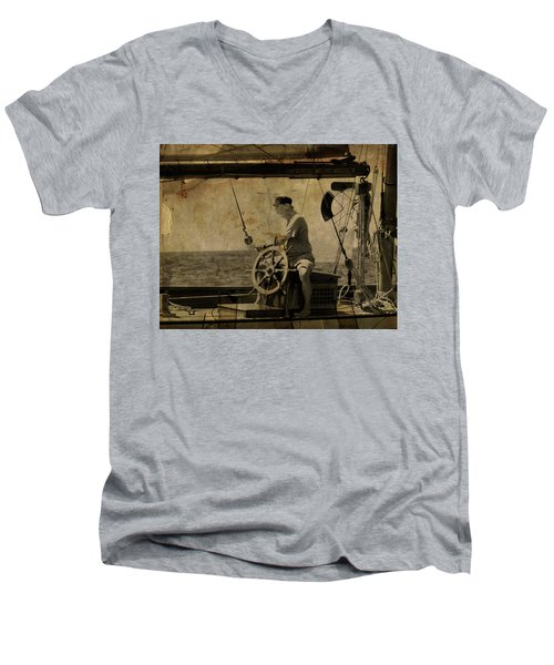 old sailor A vintage processed photo of a sailor sitted behind the rudder in Mediterranean sailing Men's V-Neck T-Shirt by Pedro Cardona