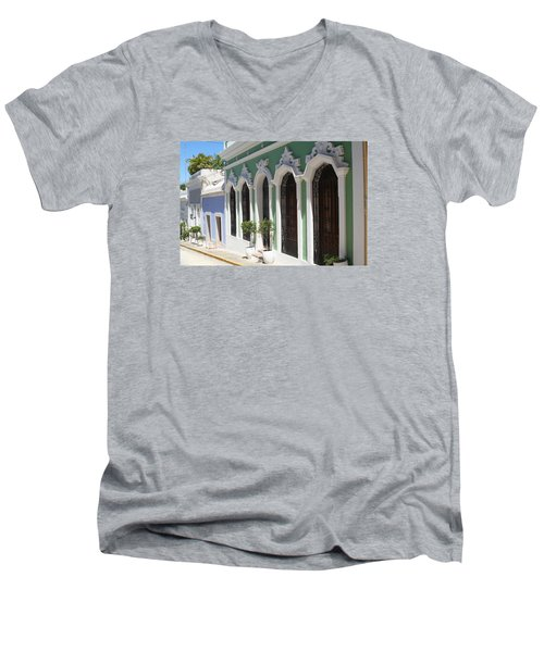Men's V-Neck T-Shirt featuring the photograph Old San Juan Street by The Art of Alice Terrill