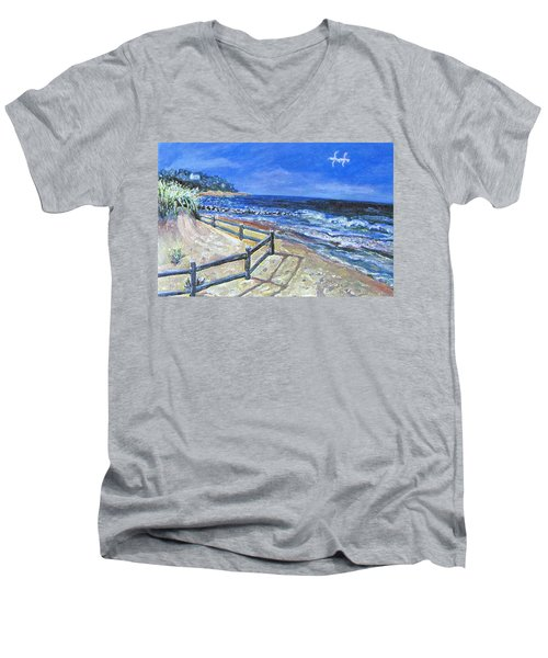 Men's V-Neck T-Shirt featuring the painting Old Silver Beach by Rita Brown