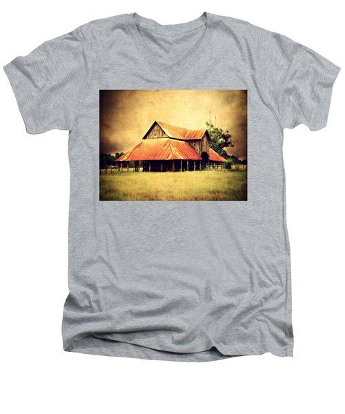 Old Texas Barn Men's V-Neck T-Shirt by Julie Hamilton