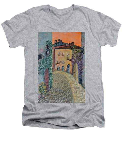 Men's V-Neck T-Shirt featuring the painting Old Town In Piedmont by Felicia Tica