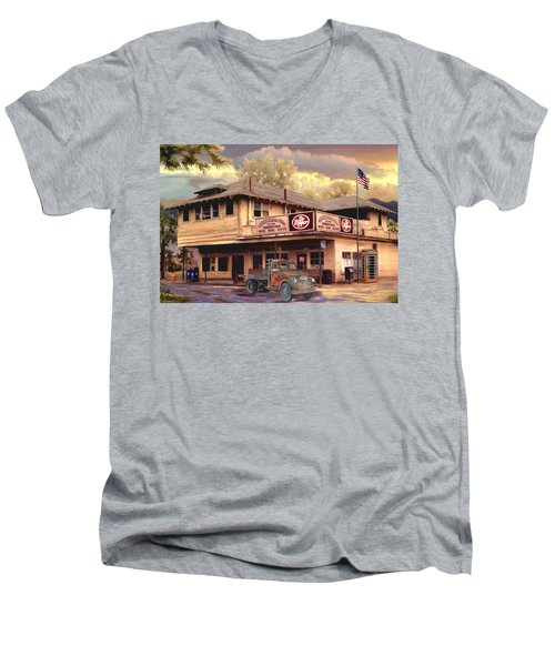 Old Town Irvine Country Store Men's V-Neck T-Shirt by Ron Chambers