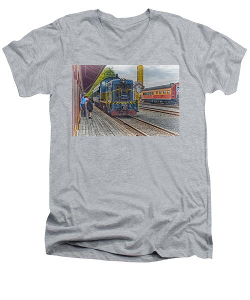 Old Town Sacramento Railroad Men's V-Neck T-Shirt by Jim Thompson