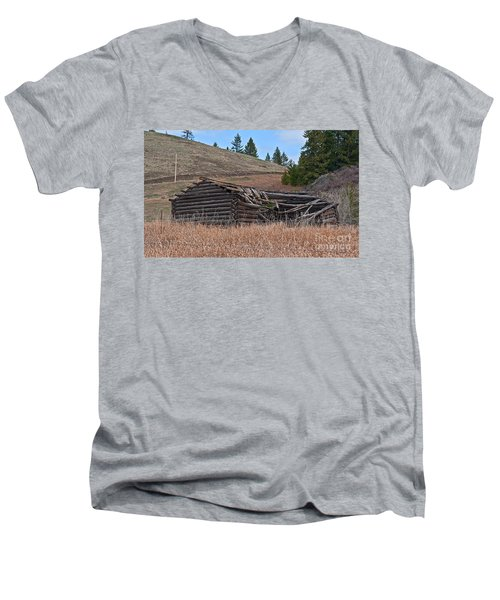 Men's V-Neck T-Shirt featuring the photograph Old Turn Of The Century Log Cabin Homestead Art Prints by Valerie Garner