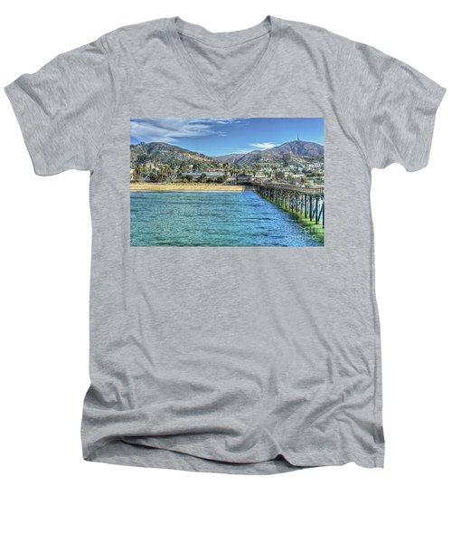 Old Ventura City From The Pier Men's V-Neck T-Shirt