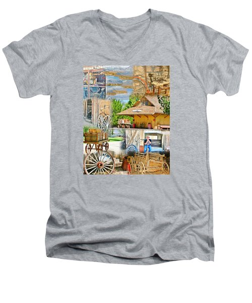 Men's V-Neck T-Shirt featuring the photograph Old West Collage by Marilyn Diaz