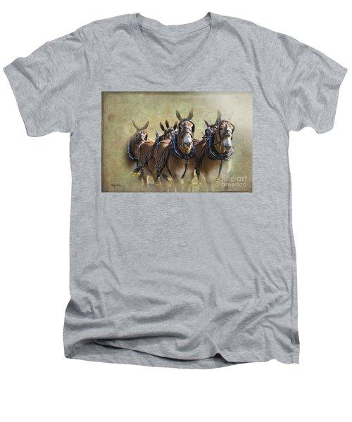 Old West Mule Train Men's V-Neck T-Shirt