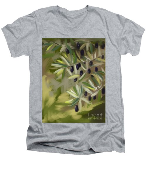 Men's V-Neck T-Shirt featuring the painting Olive Tree by Go Van Kampen