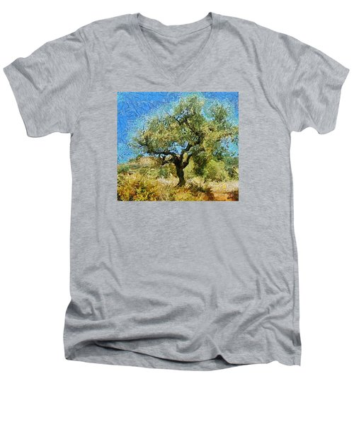 Olive Tree On Van Gogh Manner Men's V-Neck T-Shirt
