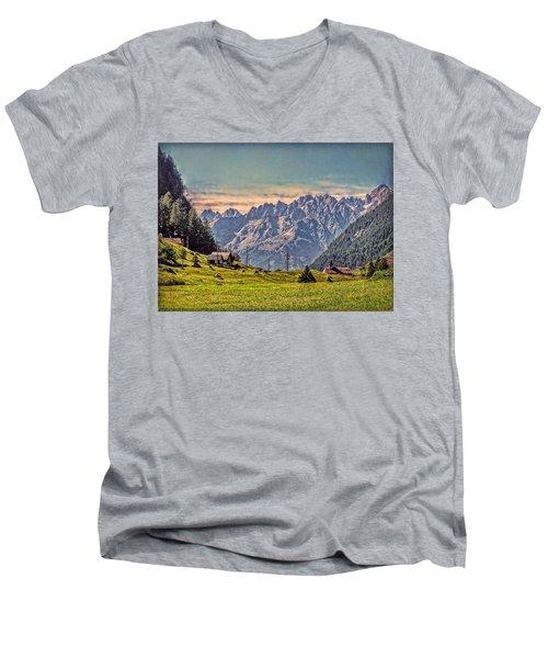 On The Alp Men's V-Neck T-Shirt by Hanny Heim