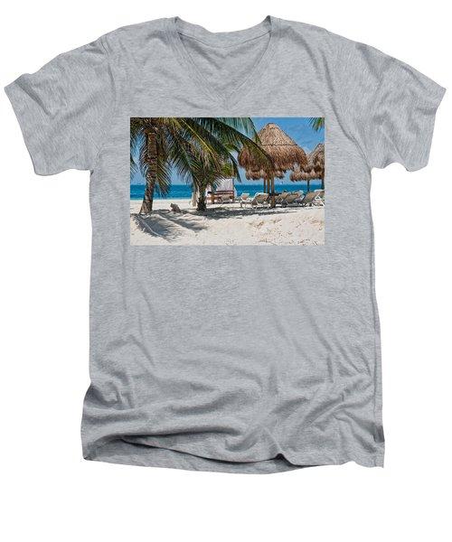 White Sandy Beach In Isla Mujeres Men's V-Neck T-Shirt