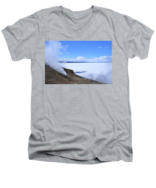 On The Edge Of Lake Yellowstone Men's V-Neck T-Shirt by Michele Myers