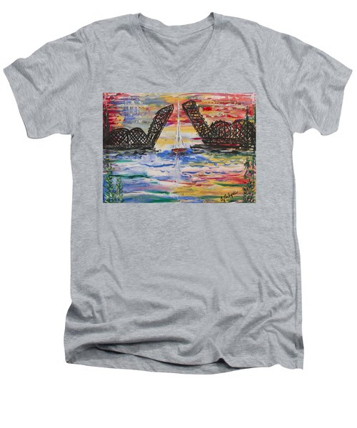 On The Hour. The Sailboat And The Steel Bridge Men's V-Neck T-Shirt