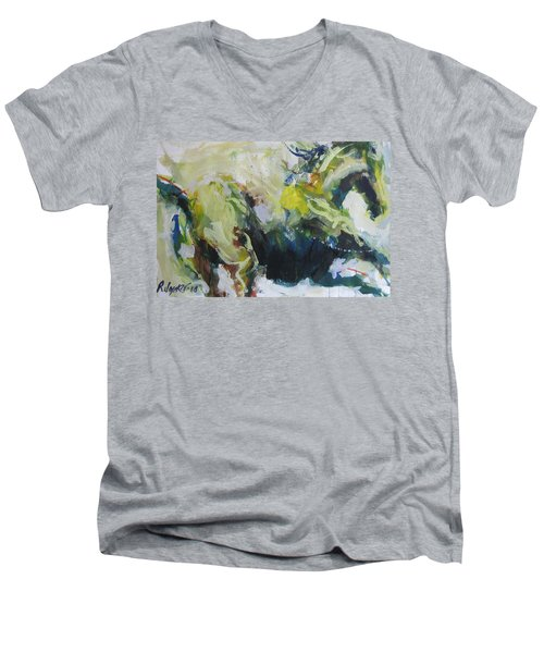 Men's V-Neck T-Shirt featuring the painting On The Run No.3 by Robert Joyner