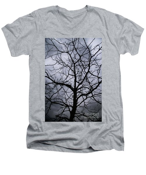 Men's V-Neck T-Shirt featuring the photograph On Their Shoulders Held The Sky by Linda Shafer