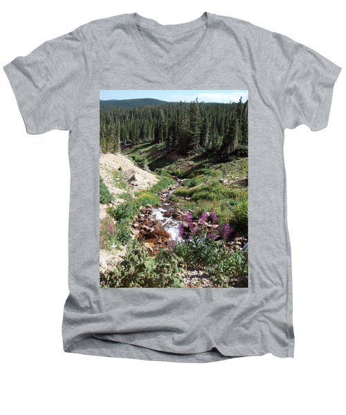 On Top Of The Continental Divide In The Rocky Mountains Men's V-Neck T-Shirt