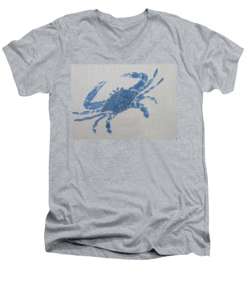 One Blue Crab On Sand Men's V-Neck T-Shirt