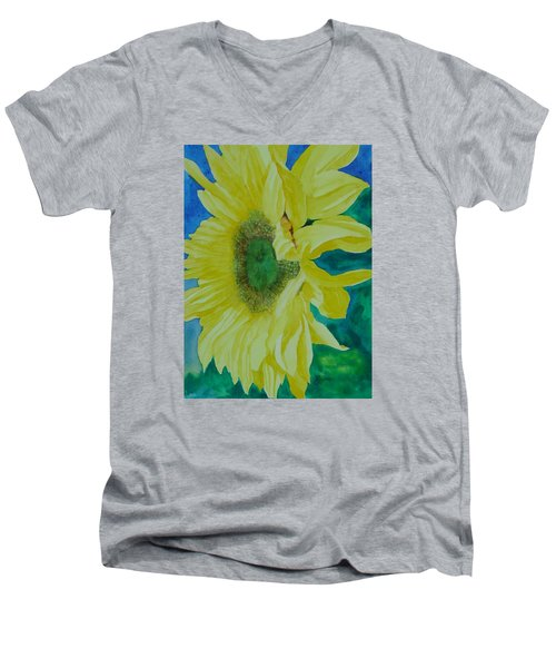 One Bright Sunflower Colorful Original Art Floral Flowers Artist K. Joann Russell Decor Art  Men's V-Neck T-Shirt