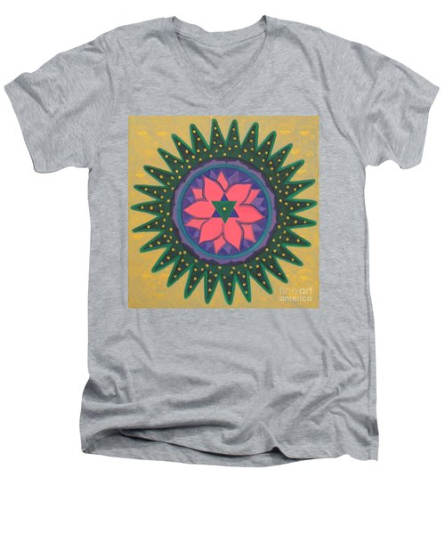Men's V-Neck T-Shirt featuring the painting One Gold Bindu by Mini Arora