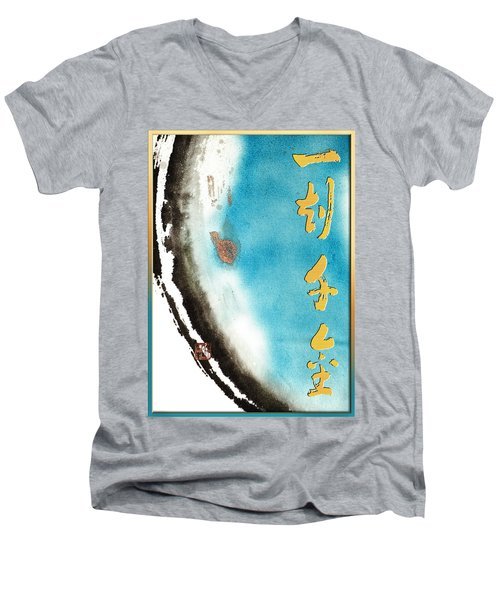 Men's V-Neck T-Shirt featuring the mixed media One Moment Thousand Gold - Every Moment Is Precious by Peter v Quenter