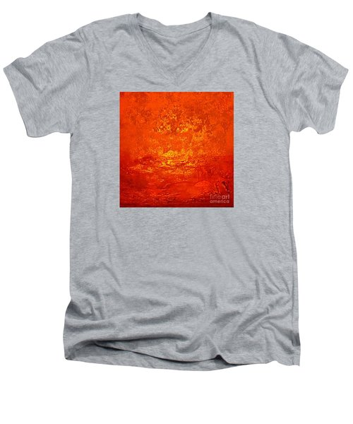One Night In Old Shanghai By Rjfxx.-original Minimalist Abstract Art Painting Men's V-Neck T-Shirt by RjFxx at beautifullart com