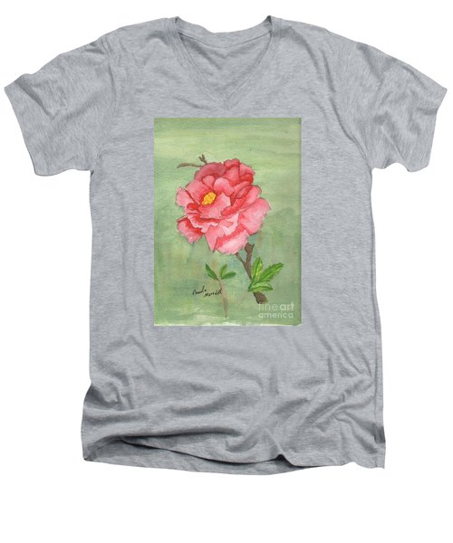 One Rose Men's V-Neck T-Shirt by Pamela  Meredith
