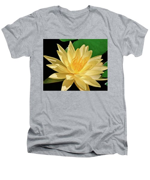 One Water Lily  Men's V-Neck T-Shirt by Ed  Riche