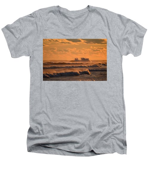 Men's V-Neck T-Shirt featuring the photograph Opal Beach Sunset Colors With Huge Waves by Jeff at JSJ Photography