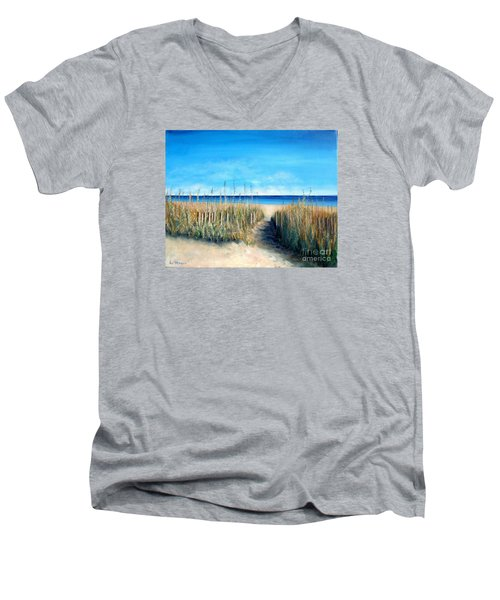 Open Invitation Men's V-Neck T-Shirt by Laurie Morgan