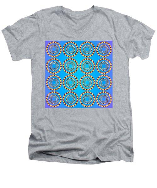 Optical Illusion Spinning Wheels Men's V-Neck T-Shirt