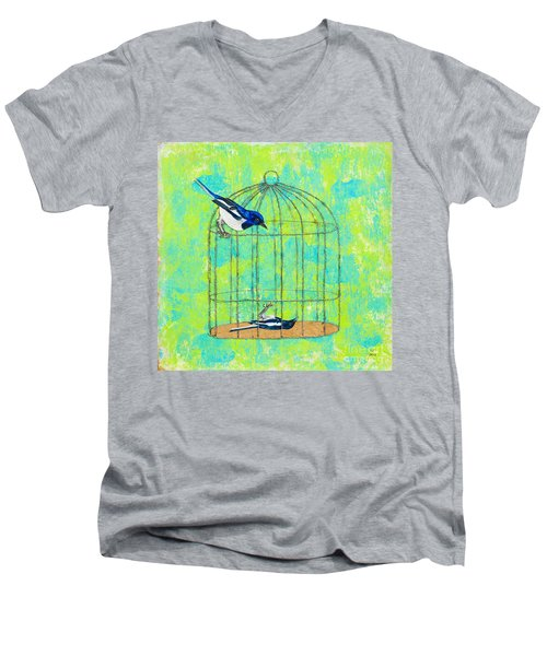 Optimism Never Wins Men's V-Neck T-Shirt by Stefanie Forck