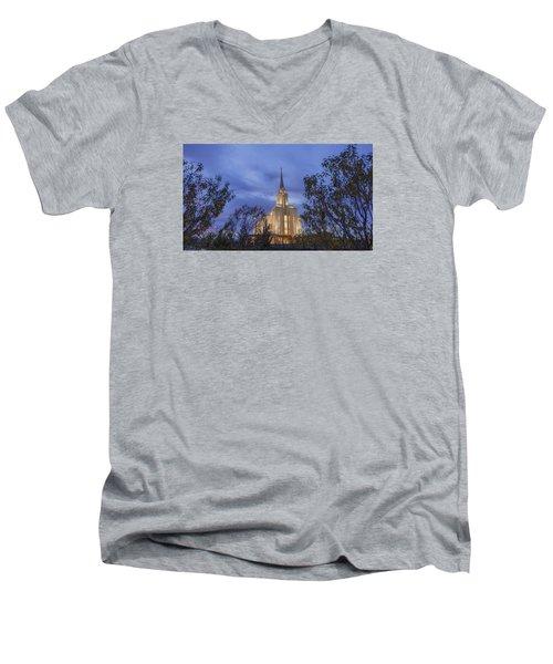 Oquirrh Mountain Temple II Men's V-Neck T-Shirt
