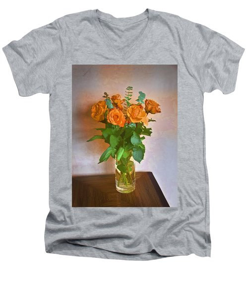 Men's V-Neck T-Shirt featuring the photograph Orange And Green by John Hansen