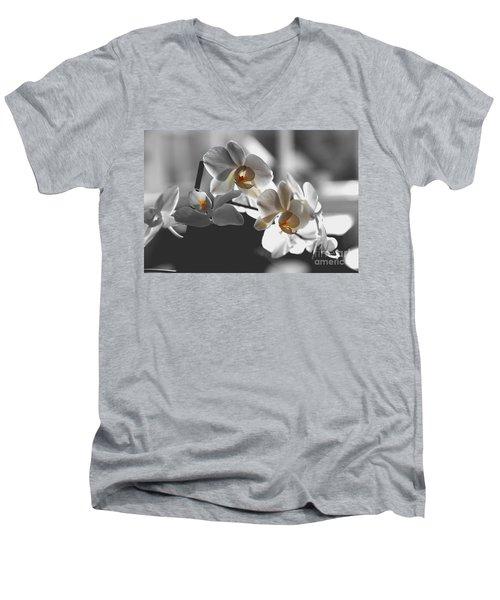 Orange And White Men's V-Neck T-Shirt