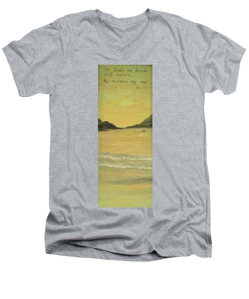 Orange Beach Men's V-Neck T-Shirt by Christy Saunders Church