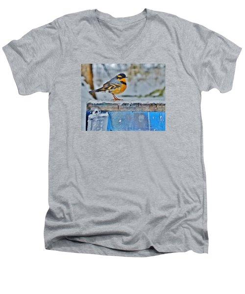 Orange Blue And Sleet Men's V-Neck T-Shirt by VLee Watson