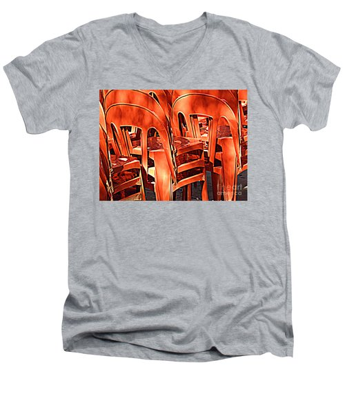 Orange Chairs Men's V-Neck T-Shirt by Valerie Reeves