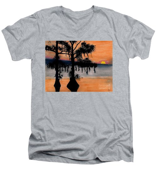 Men's V-Neck T-Shirt featuring the drawing Orange Cypress Sunset by D Hackett