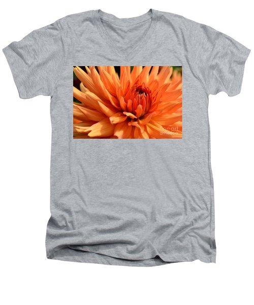 Orange Dahlia Men's V-Neck T-Shirt