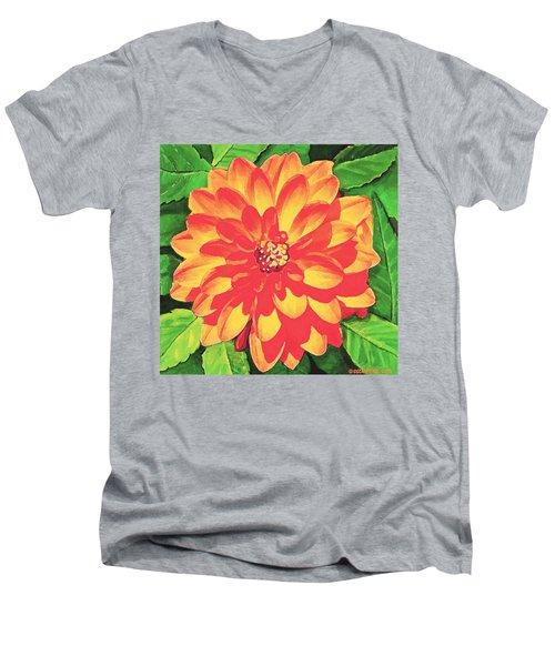 Orange Dahlia Men's V-Neck T-Shirt by Sophia Schmierer