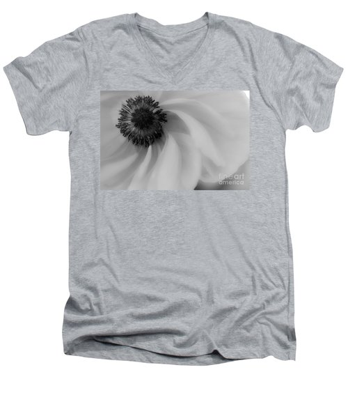 Orange Flower In Black And White Men's V-Neck T-Shirt