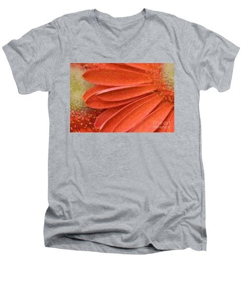 Orange Gerber Daisy Painting Men's V-Neck T-Shirt