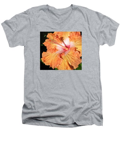 Men's V-Neck T-Shirt featuring the photograph Orange Hibiscus After The Rain by Connie Fox
