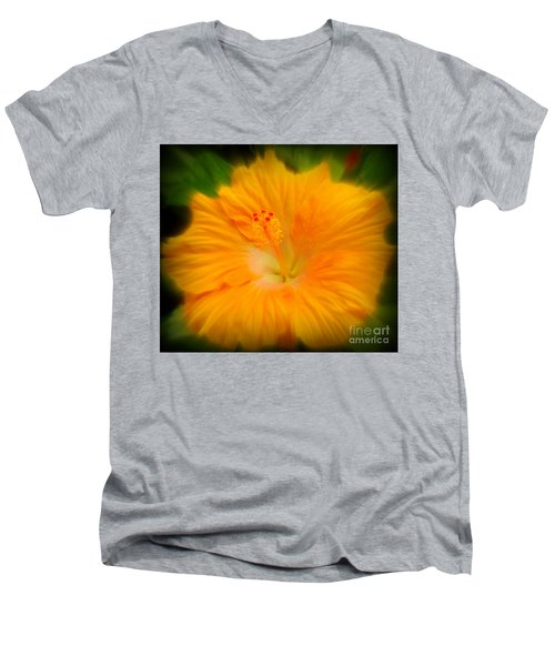 Orange Hibiscus Flower Men's V-Neck T-Shirt by Clare Bevan