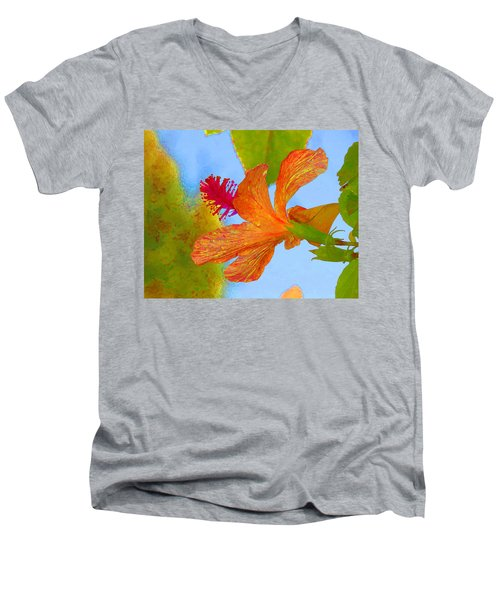 Orange Hibiscus  Men's V-Neck T-Shirt