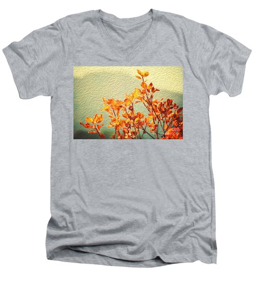 Men's V-Neck T-Shirt featuring the photograph Orange Leaves by Yew Kwang